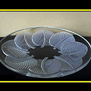 Verlys Glass Large Oval  Platter Les Feuilles, d'Avesn pattern Number 1292. Circa 1938