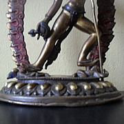 SOLD Brilliant  Vintage Gold Gilded 9&quot; Copper & Bronze Figure of  Vajrayogini. Circa 1988
