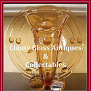 SALE PENDING Fabulous 1930s Art Deco Amber Depression Glass Vase & Bowl - Dish  Center Piece b