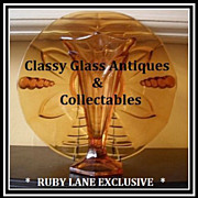 Very Scarce 1930's Art Deco Amber Glass Two Piece Center Piece by Stolzle