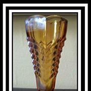 1930's Art Deco Amber Glass Chevron Vase by Davidson. England.