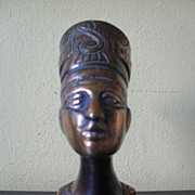 SALE Original Vintage 1920's Egyptian Metal Bust of Nefertiti