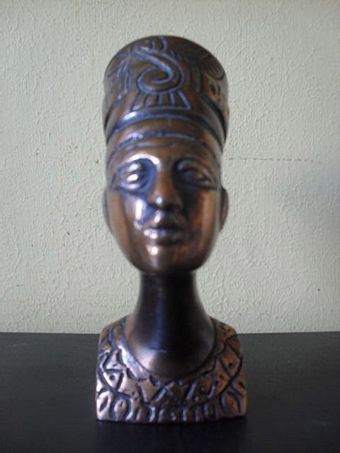 Original Vintage 1920's Egyptian Metal Bust of Nefertiti
