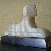 SOLD Original 1920's Egyptian Alabaster Stone Hand Carved Sphinx