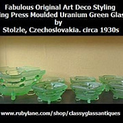 SALE SEVEN PIECE Fruit Bowl & Sundae Dish Set 1930's Art Deco Uranium Green Glass by Stolzle.