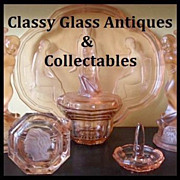 SALE Incredible Art Deco Pink Depression Glass &quot;Egyptian&quot; Pattern Vanity Set / Trink