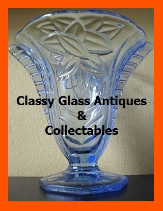 1930's Art Deco Czechoslovakian Blue Depression Glass Vase With Wings