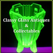 Outstanding PAIR of English Art Deco Uranium Glass Vases by Bagley, 'Bedford' Pattern.