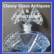 Bohemian Czechoslovakian Art Deco Cut Crystal Blue Glass Perfume Bottle.