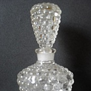 SALE PENDING Delightful Art Deco Optic Hobnail Glass Perfume Bottle & Stopper. Circa 1930's.