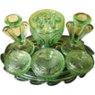 SCARCE Bagley glass Flower Set Rutland pattern Trinket set / Vanity Set