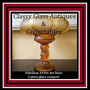 SALE PENDING SALE PRICE! 1930s Art Deco Amber Glass LARGE Two Part Center Piece. Incredible.