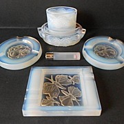 SOLD Gorgeous 1930's French Opalescent Glass Smokers Ashtray & Companion Set.
