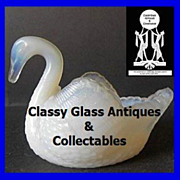 Amazing Burtles,Tate & Co. English Opalescent Glass Swan circa 1880