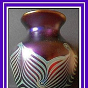 Important Documented Iridescent Glass Feather-Combed Vase by Okra, England