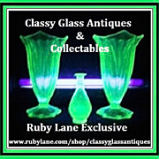 Amazing Pair of  Large 1930's Art Deco Uranium Green Glass Vases.
