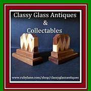 Stylish English Art Deco Hand Crafted Wooden Parquetry Book Ends