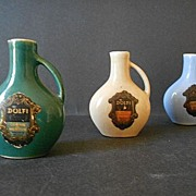 SALE Three Wonderful Vintage Ceramic  Liqueur - Flask - Jug Bottles  by Dolfi , Paris France.