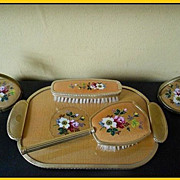 SALE SALE PRICE! 5 Piece Golden Silk Vanity Set Boudoir Dresser Set. English circa 1950's