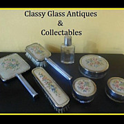 SALE SALE PRICE!  Seven Piece Chrome Metal Glass & Embroidery Vanity Set.
