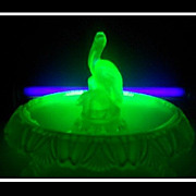 Uranium Green Glass 1930s Art Deco Pelican Bird Center Piece Display by Walther,Germany