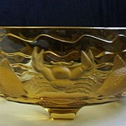 SOLD Brilliant Bagley Vintage Original Amber Glass Marine Bowl 3000 Pattern. Circa 1934.