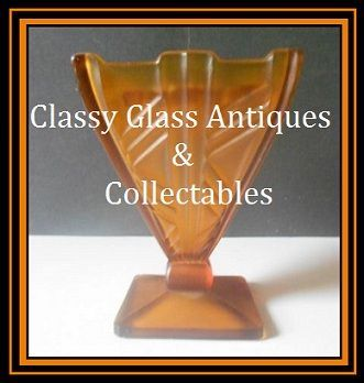 Fabulous 1930s Continental European Art Deco Butterscotch Amber Glass 2 piece Flower Vase Set.