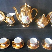 SALE Phenomenal Porcelain FIFTEEN PIECE Tea Set Service by Haas & Czjzek circa 1945. MINT COND