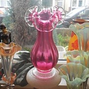 Desirable English Stourbridge 9 inches Tall Free Blown Cranberry Glass Vase. Pre 1910.