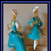 SALE Murano Barovier & Toso Venetian Glass Pair of Courtesan Statuettes