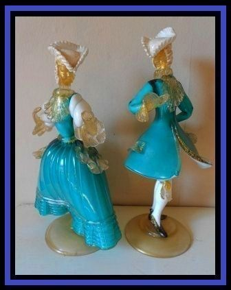 Murano Barovier & Toso Venetian Glass Pair of Courtesan Statuettes