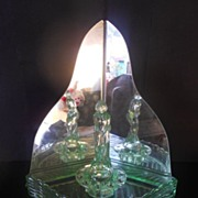SALE PENDING 'September Morn'  Art Deco Uranium Glass Lady Corner Display Complete With Mirror