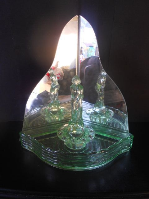 'September Morn'  Art Deco Uranium Glass Lady Corner Display Complete With Mirror