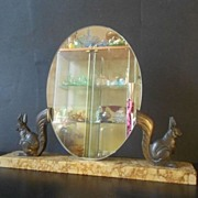 SOLD Superb French Art Deco Mirror with Marble and Bronze Squirrels