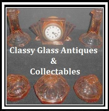 Extensive 11 Component Piece Art Deco Pink Glass Trinket Boudoir Dresser Set Complete with Clock