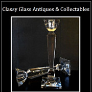 SALE HALF PRICE. Finest Quality from Harrods London Cut Lead Crystal Glass Obelisk Candlestick
