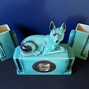 SOLD Fabulous Aqua � Turquoise French Art Deco Faience Clock & Two Vase Garniture Set