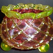 SOLD English Victorian Cranberry Glass Vase - Bowl with Citrine Glass Diamond Applique