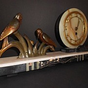 SOLD LOOK!  Impressive & Fully Working Onyx & Marble Art Deco Clock Garniture Three Piece Set.
