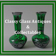SALE A Charming Pair of  Venetian Emerald Green Silver Overlay Glass Vases