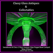 TWO PIECE Ring of Roses 1930s Art Deco Uranium Green Glass Lady Center Piece Comport
