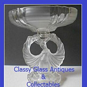 1930s Art Deco Crystal Frosted Glass 2 Part Center Piece Lady Comport