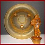SALE German 1930s Art Deco Amber Glass Lady & Bowl Center Piece by Walther & Sohne. ' Lukretia