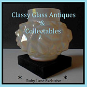OFFERS INVITED. Diamond Point  Mother of Pearl White Opal Iridescent Art Nouveau Glass Vase by