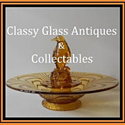 SALE PENDING Czechoslovakian 1930's Art Deco Amber Glass Penguin 2 part Center Piece by Liboch