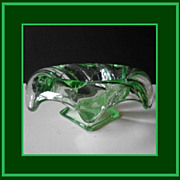 Bagley 1930's English Art Deco Green Equinox Pattern Posy Bowl Dish
