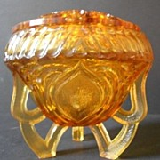 SOLD Sowerby, English Art Deco Large Amber Glass Two Piece Rose Bowl
