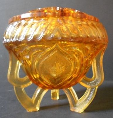 Sowerby, English Art Deco Large Amber Glass Two Piece Rose Bowl