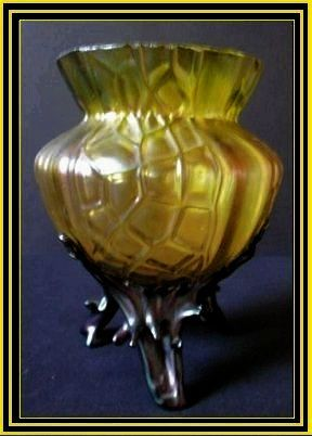 OFFERS INVITED> Austrian Art Nouveau Iridescent Glass Martelle Vase by  Loetz or Kralik