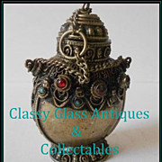 SALE Early 20th Century Oriental  Nepalese Silver Temple Pedestal Snuff Bottle